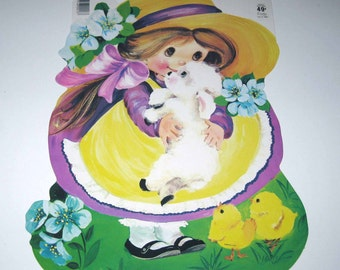 Vintage Die Cut Cardboard Easter Decoration with Girl White Lamb and Chicks by Eureka