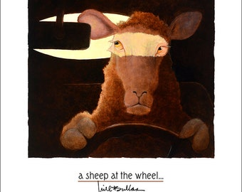 Will Bullas / art print / a sheep at the wheel... / humor / animals