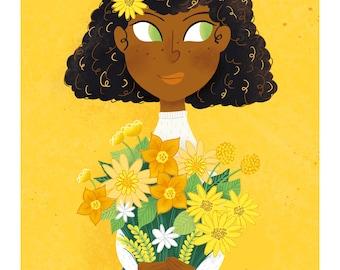Yellow Flora // A4 Print