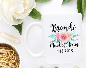 Maid of Honor Gift| Personalized maid of honor mug| Wedding Party Mug| Floral Wedding Mug| Maid of Honor Reveal| Cute Wedding Mug| MUG428