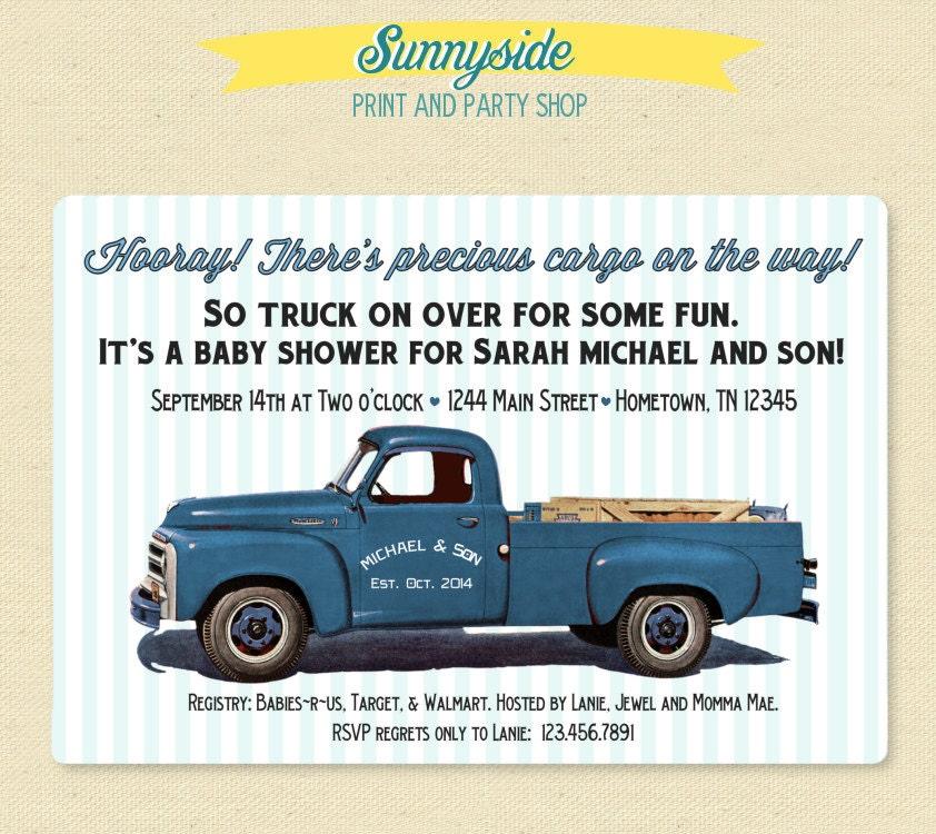 Pickup Truck Retro Baby Shower Invitation Baby Boy Printable