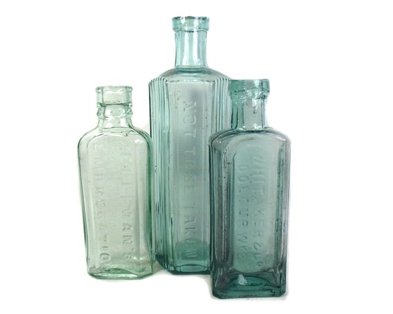 Antique Aqua Glass Set