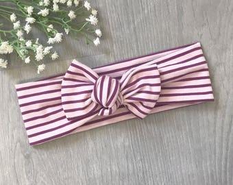 Purple Stripe Headband / Baby Headband / Toddler Headband / Baby Shower / Baby Bow / Purple Stripe Headband
