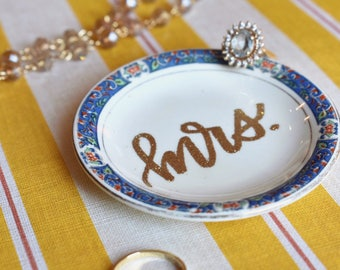 Engagment Ring Dish // Embossed Antique Mrs. Ring Holder