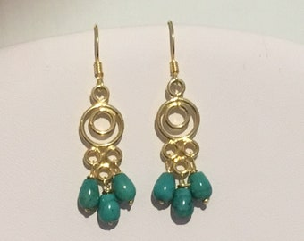Gold Vermeil Chandelier Teardrop Earrings with Turquoise Beads and Vermeil Earring Wires
