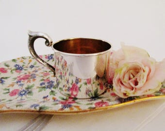 Lullaby Sterling Baby Cup, Vintage Sterling Silver Cup with Gold Washed Interior, Baby Gift