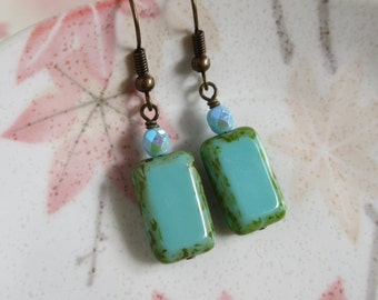 Turquoise Blue Glass Earrings, Czech Glass Earrings, Teal Blue Boho Earrings, Earthy Jewelry