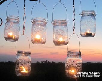 8 diy wide mason jar lanterns wedding lights ball mason jar diy wedding mason jars lanterns hangers diy outdoor party hanging candle kits luminaries by treasureagain solutioingenieria Image collections