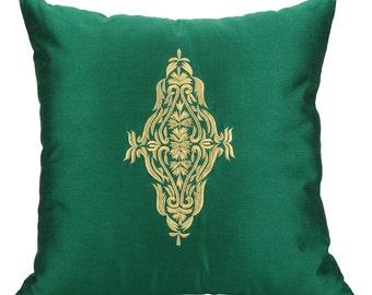 Green Gold Pillow Cover 18x18 Green Gold Damask Pillow Emerald Green Gold Throw Pillow 14x14 16x16 18x18 20x20 22x22 inch