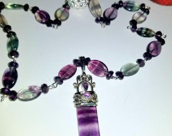 Fluorite and Amethyst Necklace and Pendant