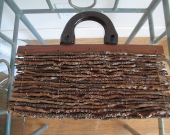 Twig Purse - Stylish Purse - Made of Beautiful Long Twigs - Unique - Fully Lined with Brown Lining -Very Good Condition - Conversation Piece