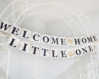 Wooden Welcome Home Little One banner, Rustic wooden sign, nursery decor, wooden custom banner, wooden garland, garland, custom banner