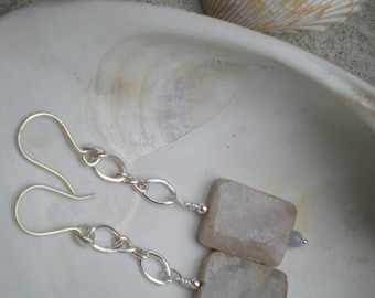 Sands and sky earrings, fossil coral, angelite, sterling silver, unique jewelry by Grey Girl Designs on Etsy