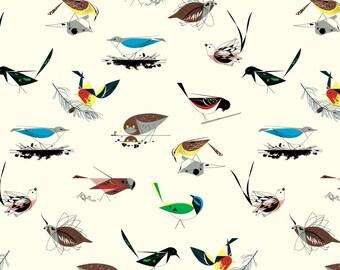 Charley Harper Western Birds Main Half-Yard Organic Double Gauze Fabric