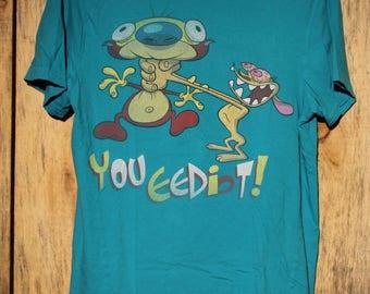 Vintage Ren & Stimpy You Eediot ! T-Shirt ! Nickelodeon