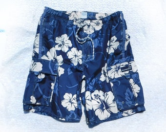 Beach shorts men - floral swim shorts - blue swim trunks, blue swim shorts, men's summer shorts, Size M  32 to 36 waist, # 19