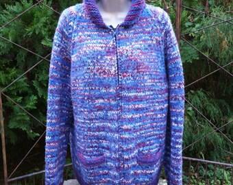 Chunky Sweater Coat, Loose Knit Sweater, Oversized Sweater L, Chunky Cardigan Zip Up Sweater, Loose Wool Sweater, Vintage Chunky Sweater