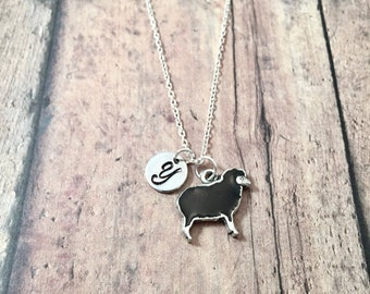 Black sheep initial necklace - sheep jewelry, farm necklace, black sheep jewelry, state fair jewelry, black sheep pendant, farm jewelry