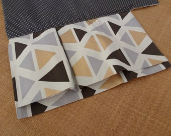 Nappy Wallet with attached waterproof Change Mat - three or two pockets-triangles patterns