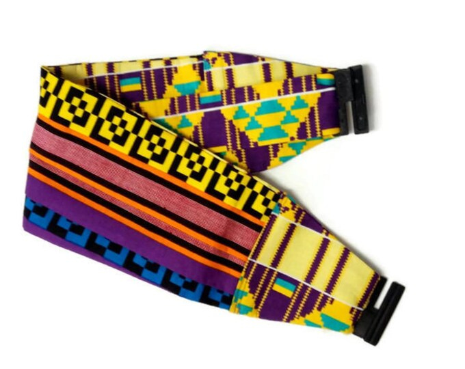 Purple Blue And Yellow Kente African Print Cummerbund, African Dress Cummerbund Mens African Clothing