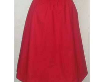Red cotton balloon skirt. One size.