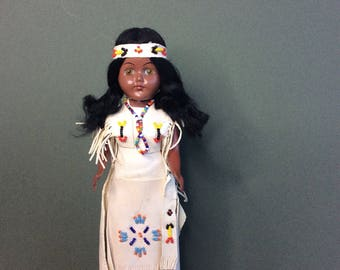 Indian doll from the Carlson Minnesota 1950 collection. Vintage