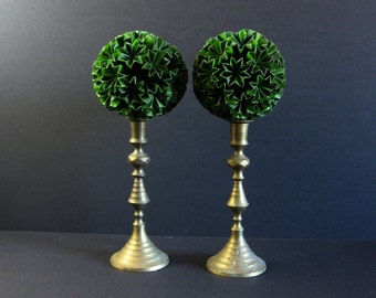 Green Paper Topiary Sculpture - Paper Ball of Stars No10 - Origami Kusudama Ball - Globe Sculpture on Brass Pedestal - Wedding Table Decor