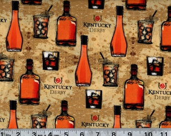 Kentucky Bourbon Cotton Fabric By the Yard #467