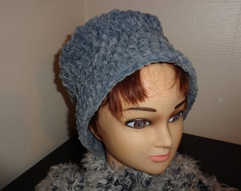 NICE VINTAGE GREY VERY CHIC WOOL SYNTHETIC VELVET CLOCHE HAT