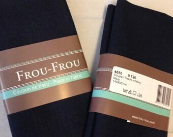 Dark blue color linen fabric coupon