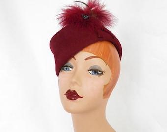 Vintage garrison hat, 1940s woman's maroon tilt, feather accent