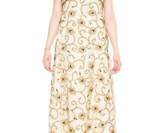 1960s Vintage Gold Beaded Gown with Crystals Sizes: S/M