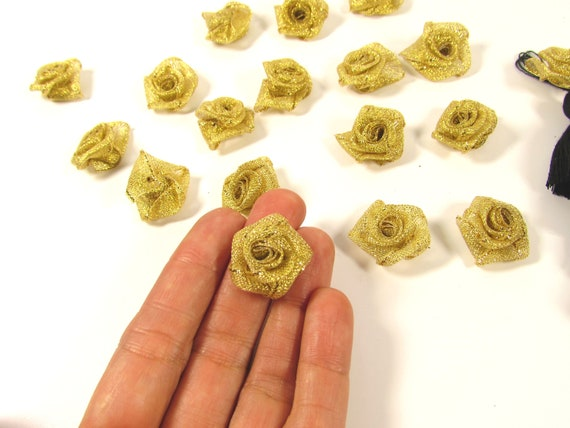 10 Gold fabric roses  Small gold roses 22 mm Gold flower appliques  Small gold fabric roses  Gold flower appliques   Small gold flowers