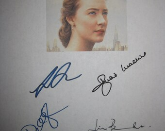 Brooklyn Signed Film Movie Screenplay Script Autographs Saoirse Ronan Jim Broadbent Domhnall Gleeson Julie Walters signatures award nomine