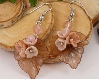 Earrings leaves and flowers