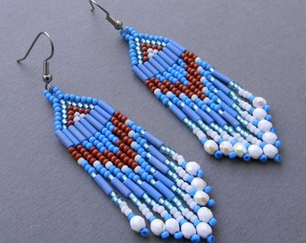 Blue seed bead earrings Long beaded dangle earrings Boho beaded fringe earrings Beadwoven jewelry Hippie boho earrings Beadwork earrings
