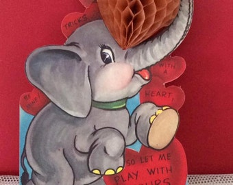 Vintage 1950s Valentine Honeycomb Card Elephant With Hearts Collectible Paper Ephemera Scrap Booking Arts Crafts
