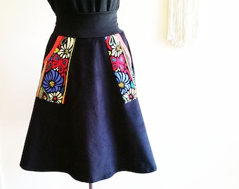 Black Corduroy Winter Skirt Black Red Aline Skirt Cordruoy Red Black Pocket Skirt Black Skirt Australian Made Plus Size Black Corduroy Skirt