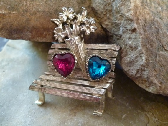 Red and Blue Double Heart Unusual Vintage Scene Pin with I Love You Bench Complete with Flowers and Hearts