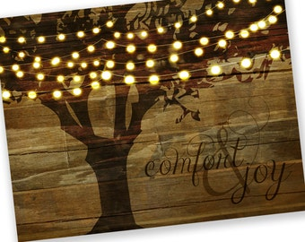 Set of 8 - Christmas Cards / Holiday Cards - Tree String Lights Comfort & Joy - reclaimed wood background