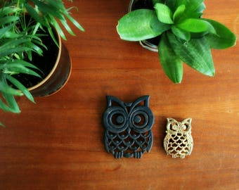 Two Owl Trivets, Small Brass/Gold Tone Owl Trivet, Cast Iron Owl Trivet