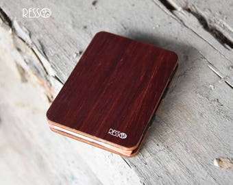 Wooden wallet, credit card wallet, men's wallet, slim wallet, modern design wallet, magic wooden wallet, wooden wallet, Purple wood