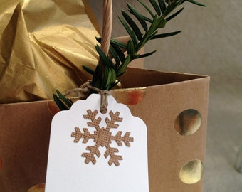Brown Craft Snowflake Gift Tags
