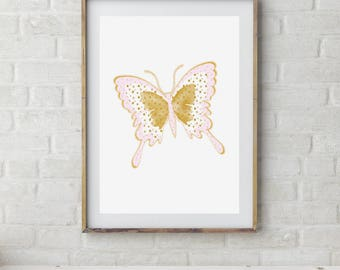Butterfly Art Print, Girls Room Butterfly Art, Butterfly Printable Art, Girls Room Decor, Butterfly Poster, Pink Gold Nursery Decor