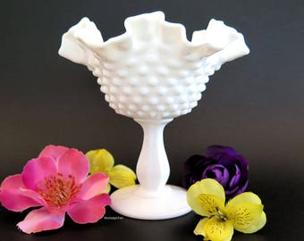 Vintage Fenton Hobnail Milk Glass Compote Vase Footed Candy Dish