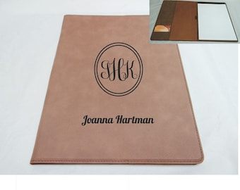 Business card portfolio etsy personalized leathette portfolio great for business graduation includes notepad and business card holder colourmoves