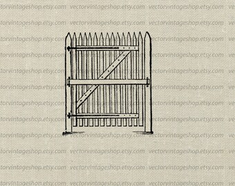 Gate Vector Clipart, Picket Fence Clip Art Graphic Instant Download, Entryway, Royalty Free Commercial Use, Household Illustration