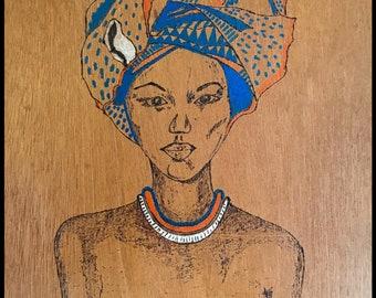 pyrographed woman portrait