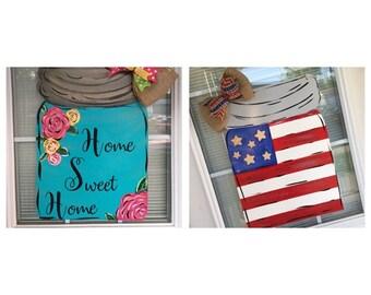 "Double sided Mason Jar Door Hanger ""Home Sweet Home"" and ""Americans Flag Mason Jar"""