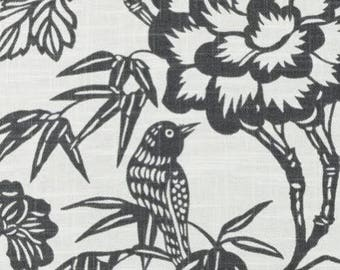"Two 96"" x 50""  Custom Lined  Curtain Panels  - Duralee Thomas Paul Imari - Charcoal"